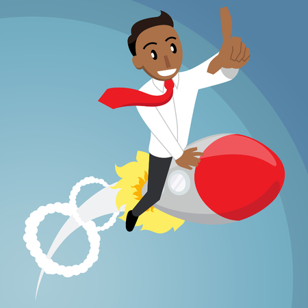 A happy cartoon style business man in a suit riding on a rocket 向量圖像