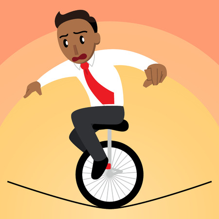 A vector cartoon of a businessman balancing on a unicycle on a tightrope and looking worried Standard-Bild - 118907935