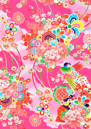Colorful Pink Japanese style pattern, as would be seen on a kimono Imagens