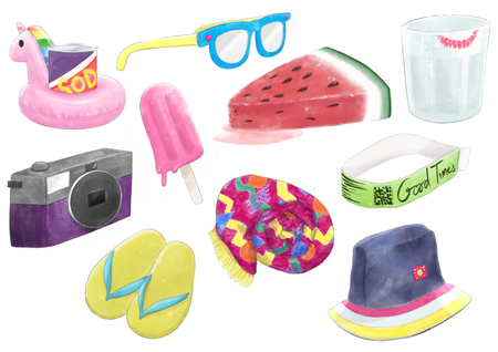 Set of summer beach vacation related objects and foods, rendered in a watercolor paint style.