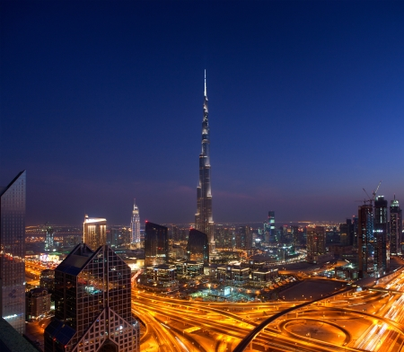 A skyline view of Downtown Dubai, showing the Burj Khalifa Editorial