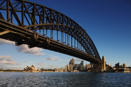 A Skyline View of Sydney at dawn showing Harbour Bridge and Sydney Opera House