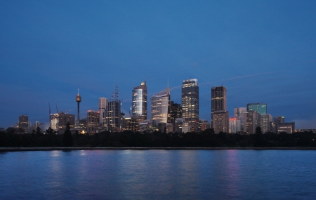 A Skyline View of Sydney at dawn as seen from the botanical gardens