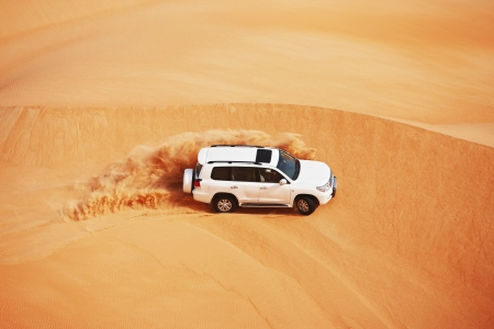 4wd: 4 by 4 dune bashing is a popular sport of the Arabian desert Stock Photo
