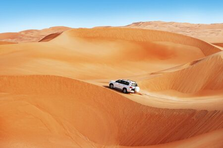 4 by 4 dune bashing is a popular sport of the Arabian desert Stock Photo