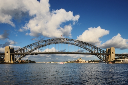 A Skyline View of Sydney at dawn showing Harbour Bridge and Sydney Opera House photo