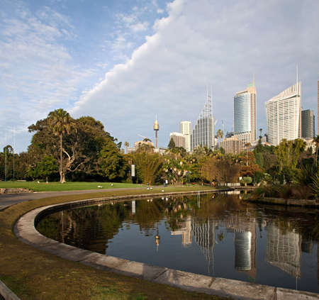 A Skyline View of Sydney with Skyscrapers reflecting in the water Editorial