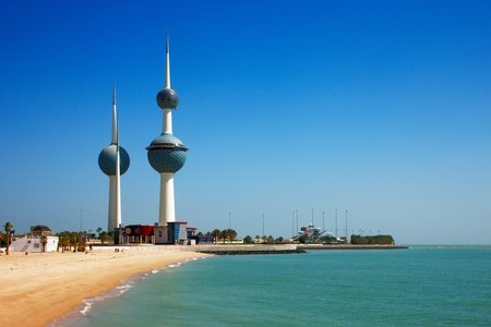 aerial view city: These beautiful architectural structures are icons of the Kuwait City skyline