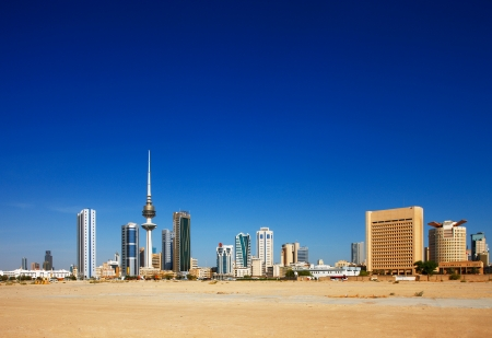 Kuwait City has embraced contemporary architecture and tall towers now populate the city skyline Stock Photo