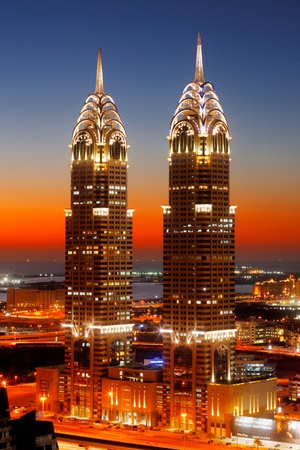 chrysler building: Another set of twins, this time in Dubai overlook Skeikh Zayed Road on one side and Palm Jumeirah on the other  Image taken February 2010