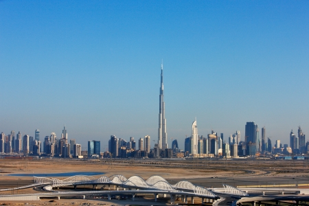 A skyline view of Dubai with it s numerous skyscapers  Image taken May 2010 Stock Photo