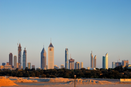 The Skyline of Dubai is graced with many beautiful tall buildings especially along Sheikh Zayed Road  Image taken May 2010 Stock Photo
