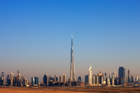 The Skyline of Dubai is graced with many beautiful tall towers  Image taken May 2010 Stock Photo