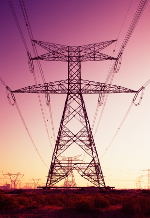 Pylons and cables can be considered an installation of industrial art photo