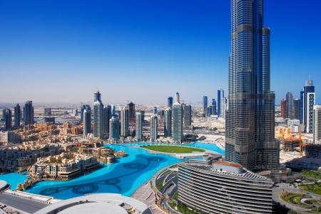 Downtown Dubai is een populaire plek om te winkelen en sightseeing Afbeelding genomen mei 2010