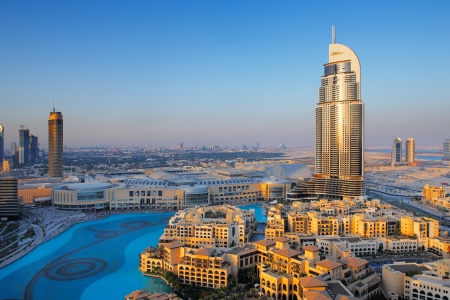 dubai city: Downtown Dubai is a popular neighborhood for tourists  Image taken May 2010