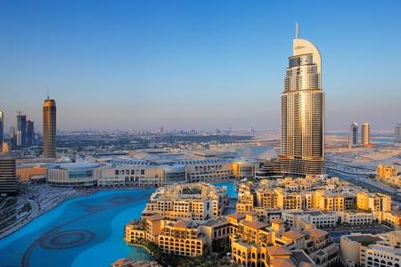 Downtown Dubai is een populaire wijk voor toeristen Afbeelding genomen mei 2010