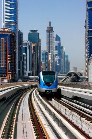 The Dubai Metro runs sum 40 km along Sheikh Zayed Road  Image taken May 2010