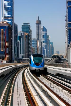 The Dubai Metro runs sum 40 km along Sheikh Zayed Road  Image taken May 2010