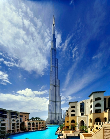 The tallest building in the world stands at 828 m tall  Dubai, UAE
