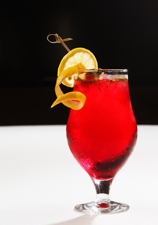 A strawberry mojito garnished with mint and lemon is a typical mocktail in Arabia