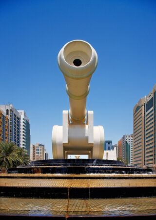 abudhabi: A canon sculpture contributes to the street art of the capital city, Abu Dhabi