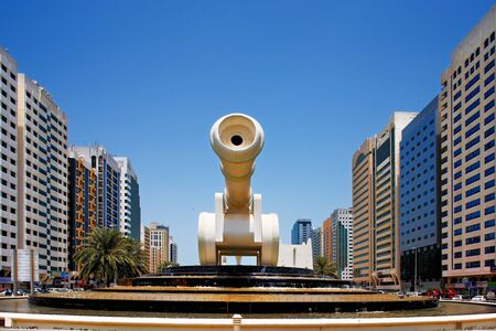 A canon sculpture contributes to the street art of the capital city, Abu Dhabi