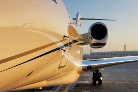 corporate jet: The beautiful sculptural shape of a citation, the private jet parked at Dubai International Airport