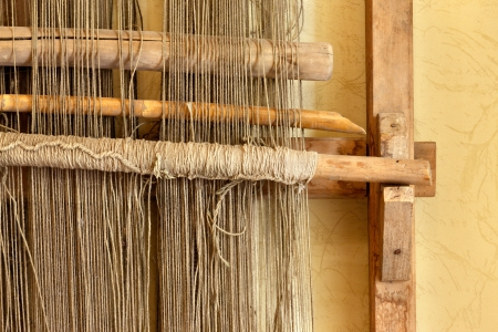 rug weaving: An ancient hand loom used to weave cloth and blankets