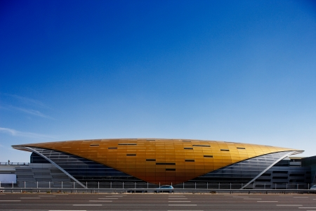 This armadillo like structure is a Dubai Metro Station  The design is spectacular and futuristic