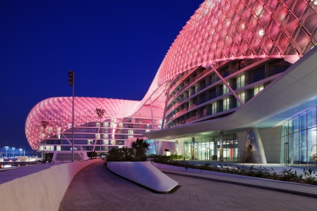 This is a majestic architectural masterpiece by any standards  The grid shell of the Yas Hotel has become an iconic symbol of Abu Dhabi Editorial