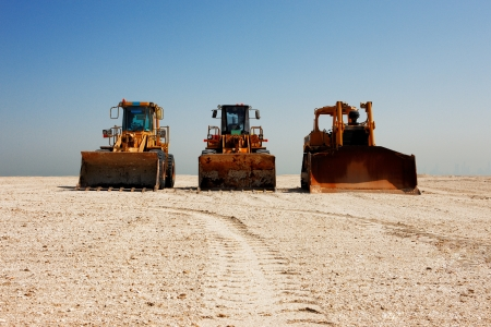 The heavy plant has arrived in the desert to commence the construction work