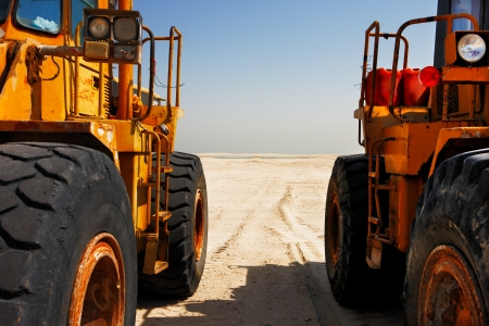 commence: The heavy plant has arrived in the desert to commence the construction work