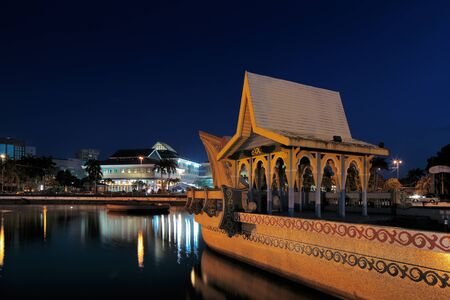 The majestic Sultan Omar Ali Saifuddien Mosque of Brunei s capital Bandar Seri Begawan is surrounded by a man made lake  The surrounding area is adorned with architectural gems