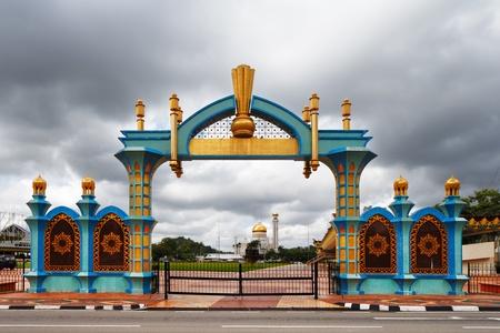 The gate of Haji Sir Muda Omar Ali Saifuddien Park of Brunei s capital Bandar Seri Begawan Editorial