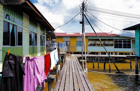 piped: Brunei s famed water villages are fully self sufficient, with their own mosques, schools, shops, piped water, electricity and satellite TV  For transportation they use water taxis