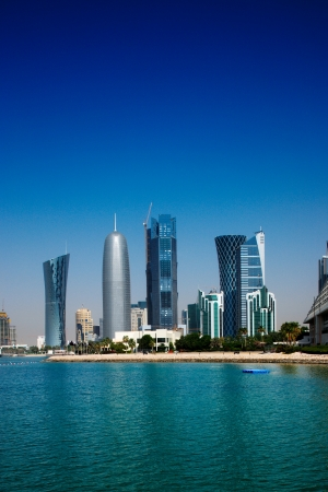 Iconic new towers grace the skyline of the West Bay area of Doha, Qatar