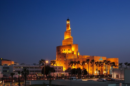 Al Fanar building at dusk in Doha, Qatar  This building is an example of historic architecture of the city Editorial