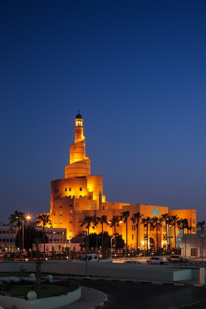 qatar: Al Fanar building at dusk in Doha, Qatar  This building an historic architectural of the city