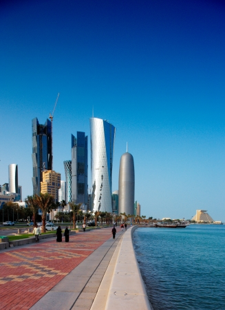 Doha s Corniche in West Bay is a popular exercise location for locals and tourists alike