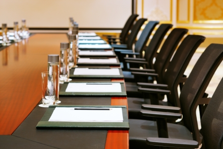 A detail shot of a meeting room often referred to as MICE by the hospitality fraternity Editorial