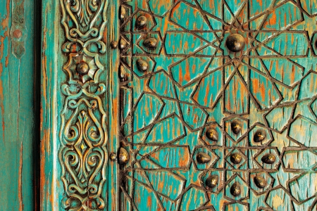 wood carvings: A detail shot of an ancient ottoman door