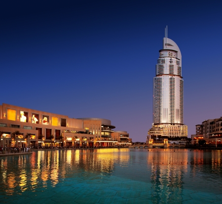 The Dubai Mall and The Address Hotel at Dusk as the Dubai Fountain sits still and acts as a perfect reflection pool