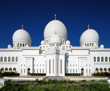 Sheikh Zayed Grand Mosque, Abu Dhabi is the largest in the UAE and the 3rd largest mosque in the world  This image shows part of the front elevation, also known as the VIP entrance