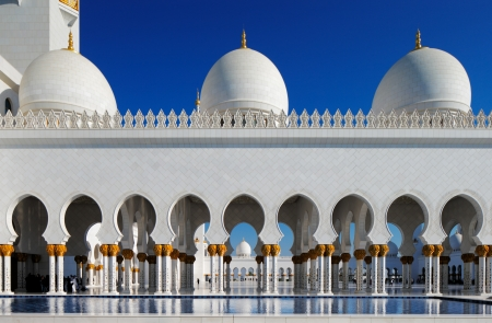 Sheikh Zayed Grand Mosque, Abu Dhabi, UAE  It host 1048 majestic columns  The design of the mosque can be best described as a fusion of Arab, Mughal and Moorish architecture
