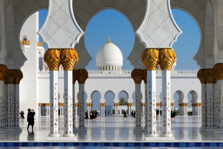 described: Sheikh Zayed Grand Mosque, Abu Dhabi, UAE  It host 1048 majestic columns  The design of the mosque can be best described as a fusion of Arab, Mughal and Moorish architecture