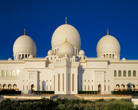 front elevation: Sheikh Zayed Grand Mosque, Abu Dhabi is the largest in the UAE and the 3rd largest mosque in the world  This image shows part of the front elevation, also known as the VIP entrance