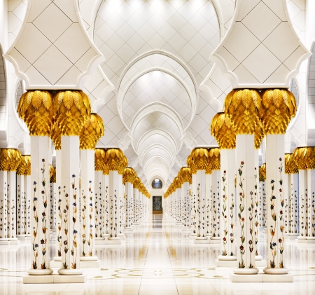 Sheikh Zayed Grand Mosque, Abu Dhabi is the largest in the UAE and the 3rd largest mosque in the world  The design of the mosque can be described as a fusion of Arab, Mughal and Moorish architecture