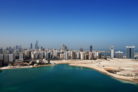 A skyline view of Abu Dhabi, UAE s capital city  This is UAE s 2nd largest city and has a population of almost 1 million residents Stock Photo