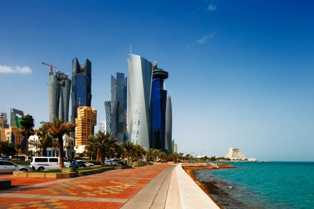 qatar: The Doha Corniche, also known as the West Bay district, is a waterfront promenade extending for several kilometers along the Doha Bay in the capital city of Doha, Qatar